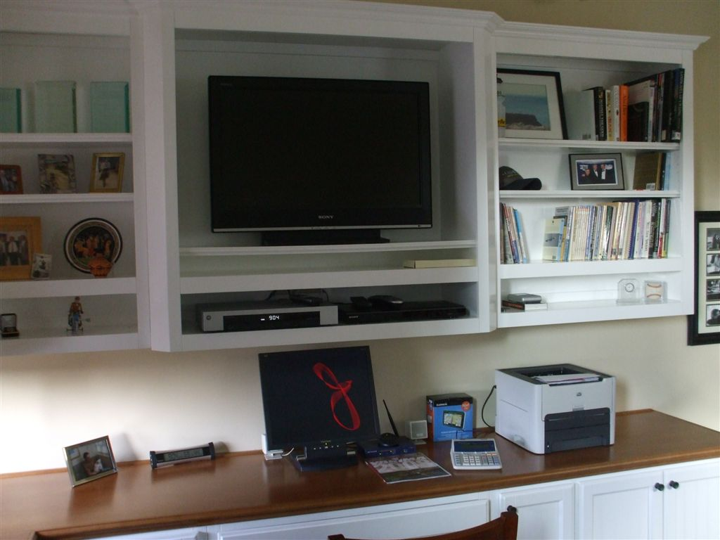 Built In White Computer Desk With Tv Shelf