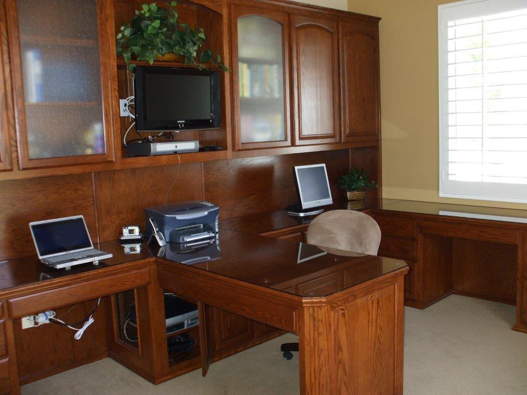 Home office with dual seating. Custom Home Office Cabinets   Cabinet Wholesalers