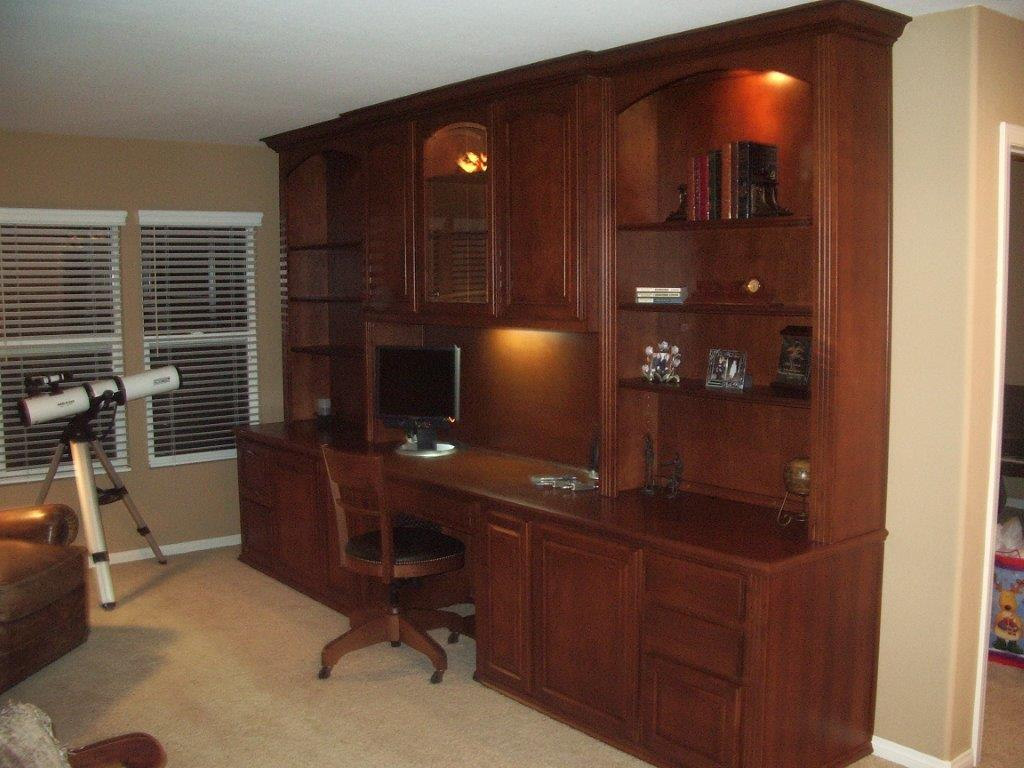 custom home office furniture. Built In Desk With Upper Cabinets · Home Office Custom Furniture