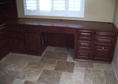 Home office desk and file cabinets