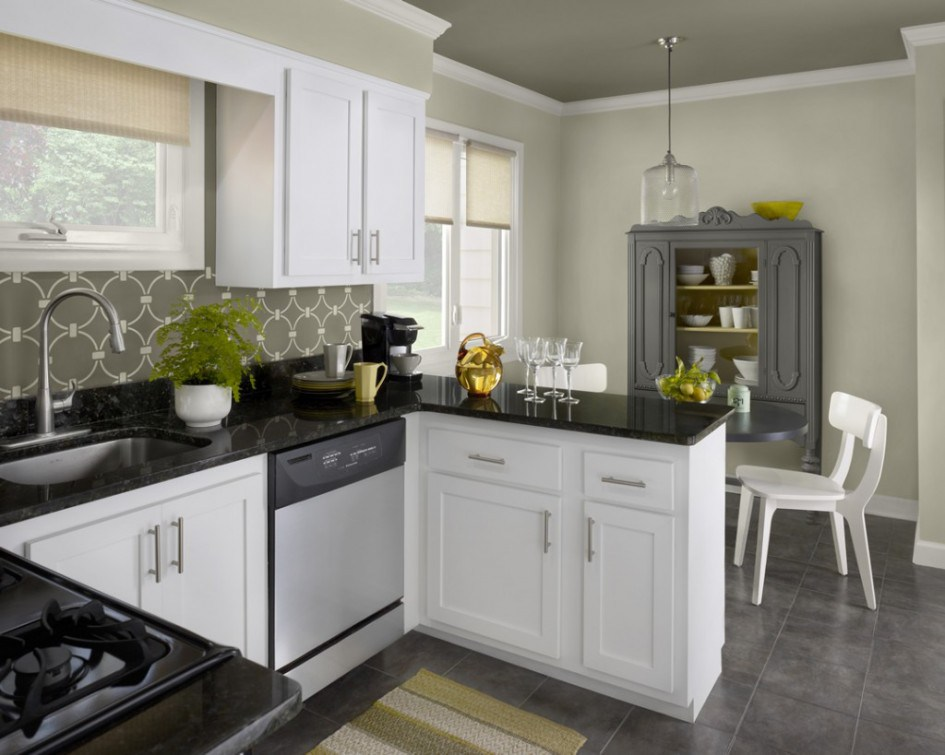 White Kitchen Cabinets With Grey Counters