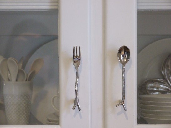 Novelty kitchen cabinet hardware - fork and spoon cabinet pulls