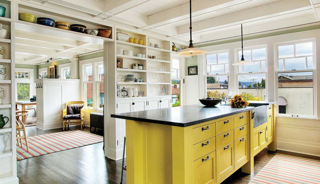 Cambria countertops and kitchen cabinets