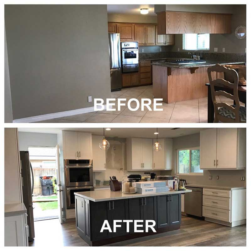Before and After Kitchen Makeover by Cabinet Wholesalers