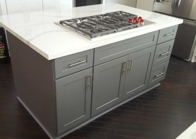 Grey shaker kitchen island cabinets