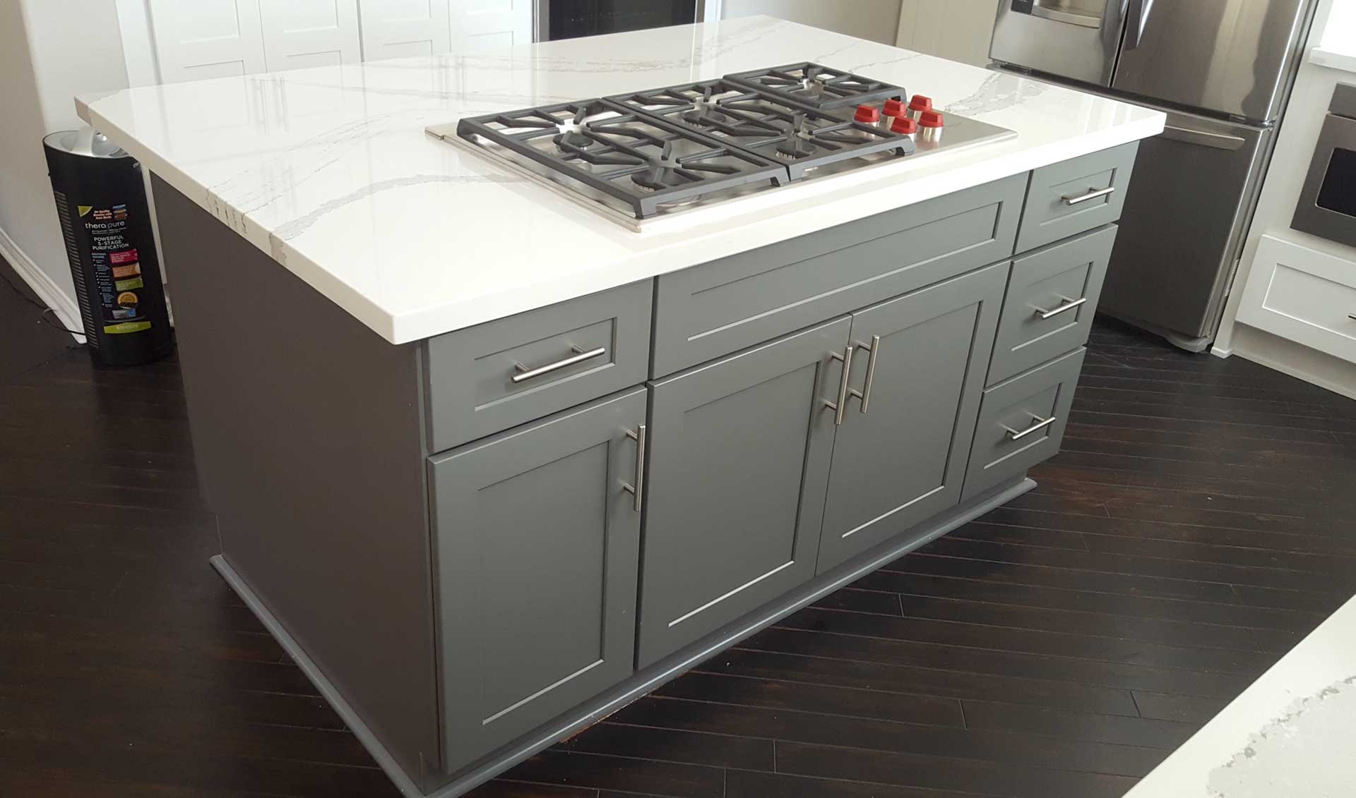 Grey shaker kitchen island