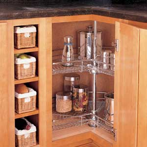 Add a lazy Susan to corner cabinets