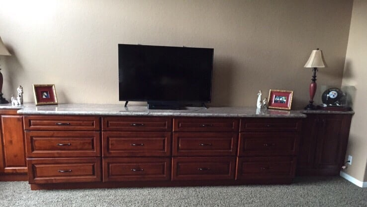 Built In Bedroom Cabinets with Granite Countertop