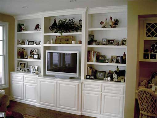 Custom cabinet - A beautiful white entertainment center.